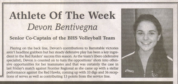 Devon Bentivegna Athlete of the Week