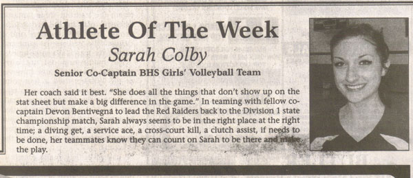 Sarah Colby Athlete of the Week
