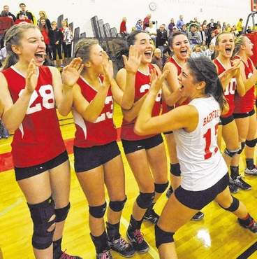 Barnstable Volleyball Celebrates Andover Win